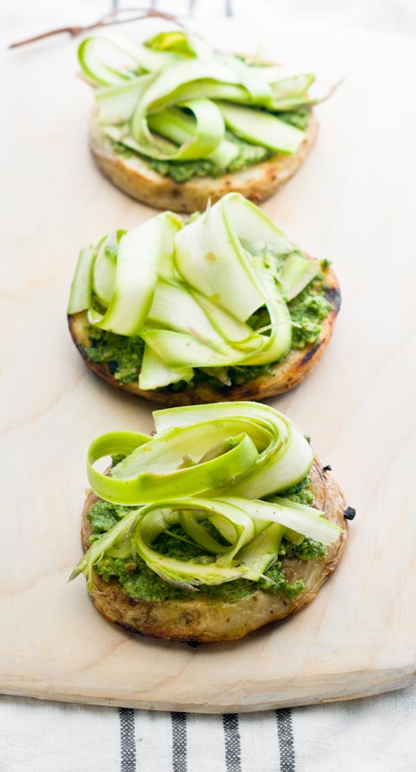 ... garlic & spring onions and shaved asparagus and radish-green pesto