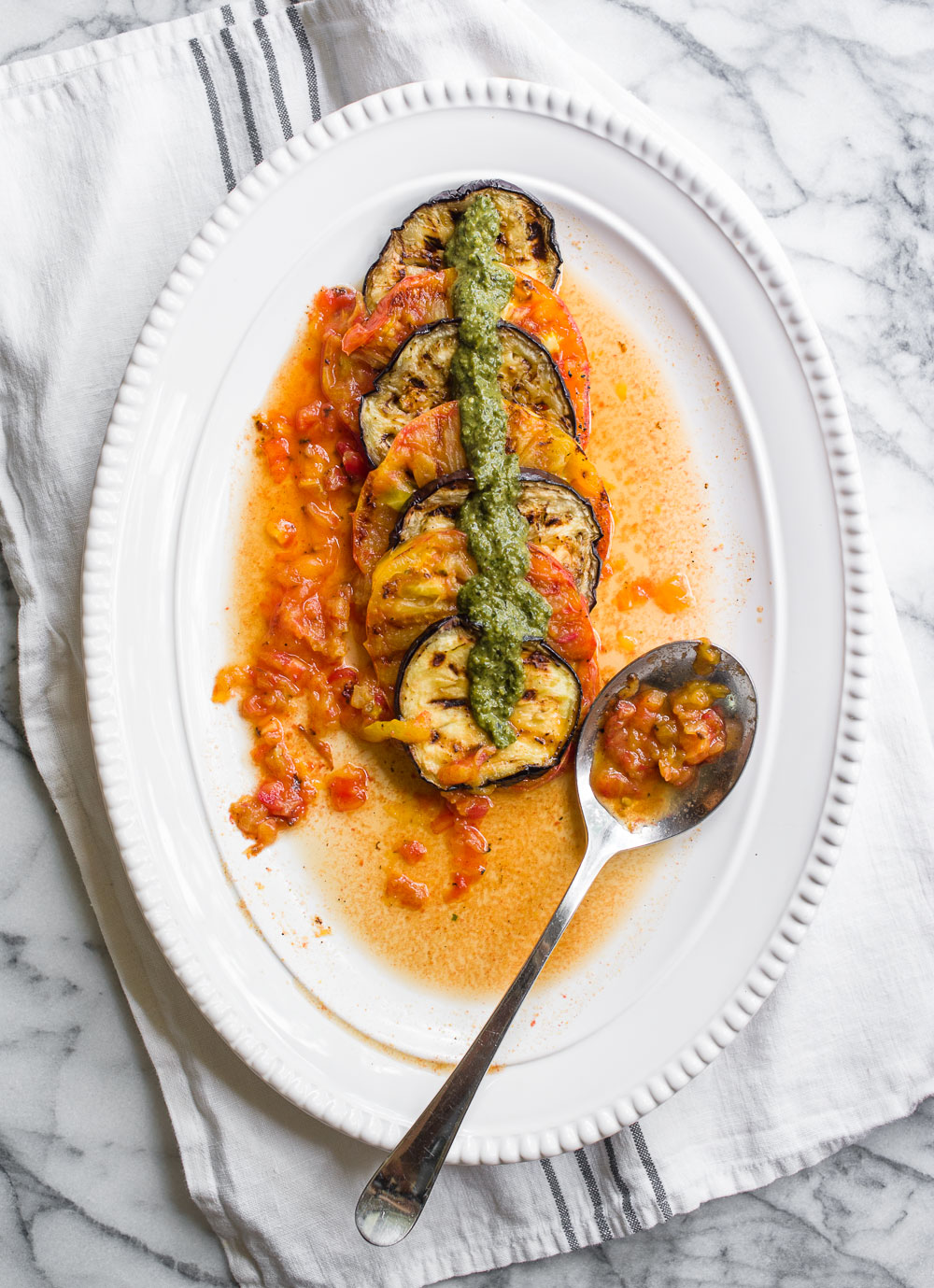 Grilled Tomatoes Eggplant Pesto