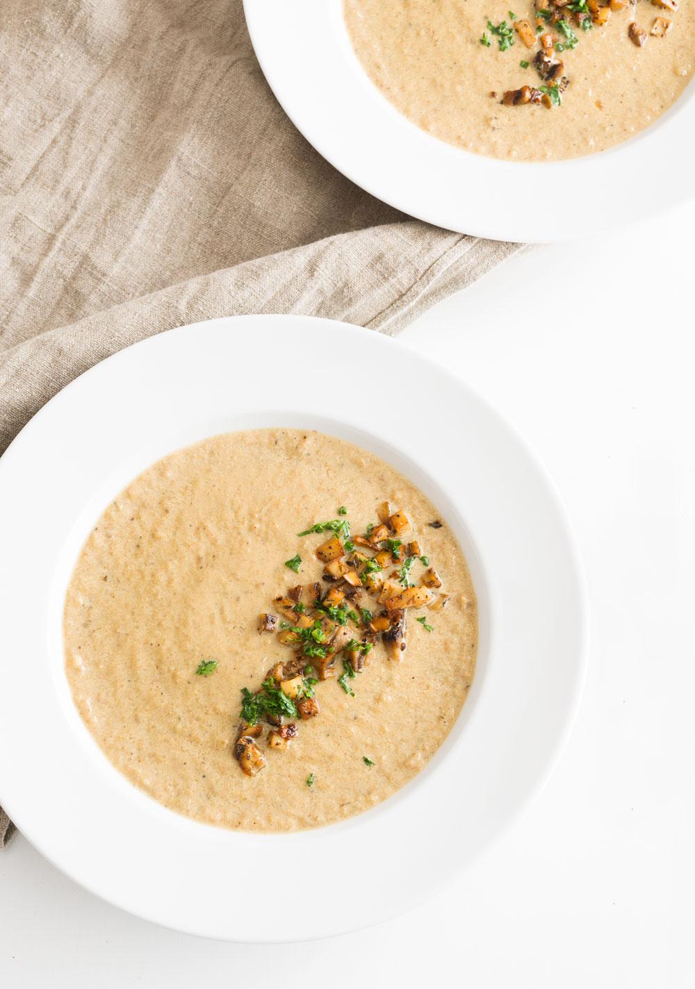 Creamy Mushroom and Cauliflower Soup - Minimally Invasive