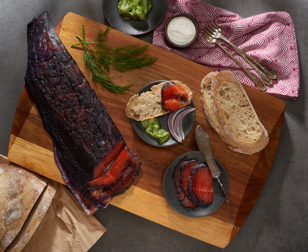 Blueberry & Coriander Gravlax with Quick Pickles